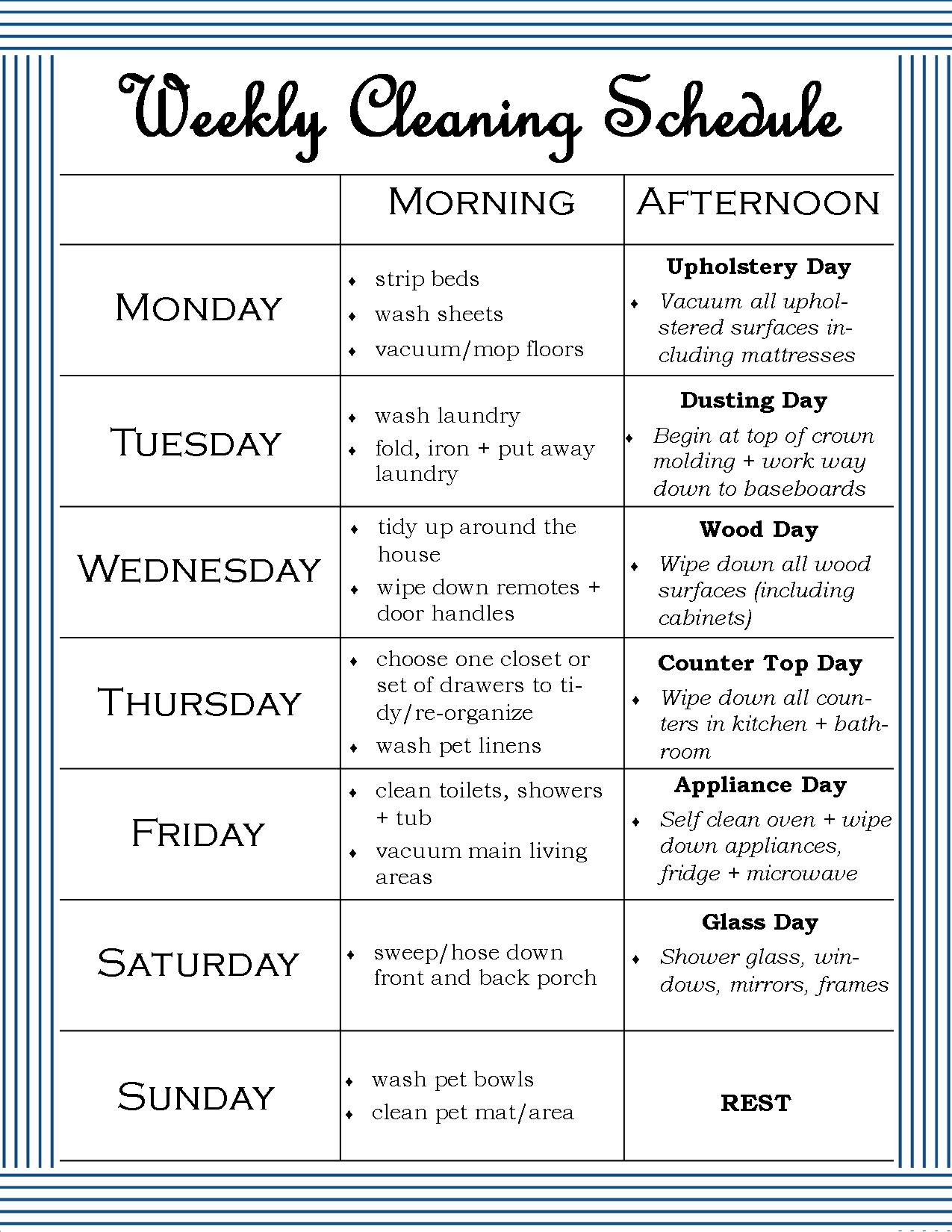 The Weekly Cleaning Schedule – Cleaning Schedule